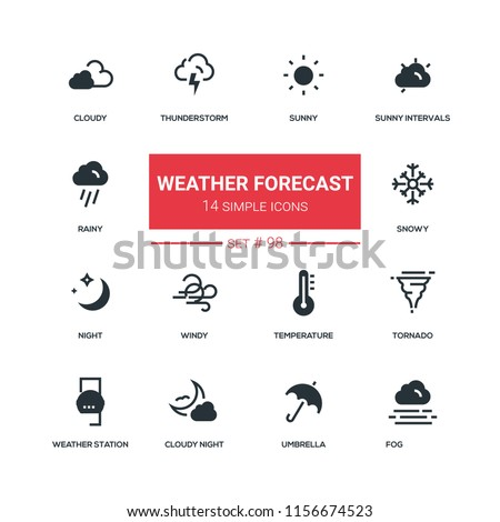 Weather Forecast Flat Design Style Icons Stock Vector Royalty Free