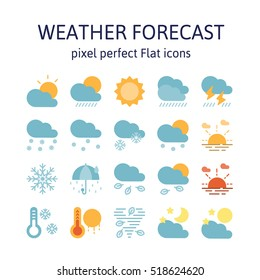 WEATHER FORECAST : Flat icons , pictogram and symbol collection.