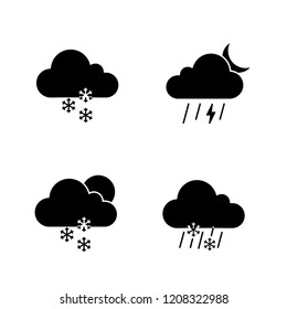 Weather forecast glyph icons set. Light snow, night thunderstorm, scattered snow, sleet weather. Silhouette symbols. Vector isolated illustration