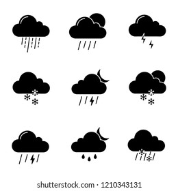 Weather forecast glyph icons set. Thunderstorm, drizzle rain, sleet, heavy rain, scattered shower, thunder, light snow, night storm, scattered snow. Silhouette symbols. Vector isolated illustration