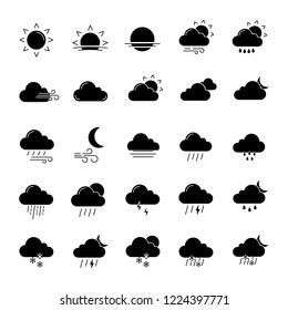 Weather forecast glyph icons set. Snow, rain, sleet. Shower or drizzle, thunderstorm. Sunny, cloudy, foggy and windy weather. Silhouette symbols. Vector isolated illustration