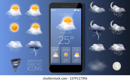 Weather forecast icon set, vector realistic illustration. Mobile phone with daily weather forecast widget application template. Sun, clouds, wind, thunderstorm, tornado, rain, snow etc.