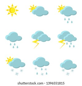 Weather forecast icons: rain, snow, sunny, thunderstorm, variable snowiness, snow, sleet, in blue and yellow, in flat style