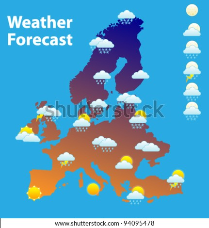 Weather Forecast Icons Set Europe Map Stock Vector Royalty Free