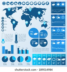 Weather forecast infographics design elements for climate and temperature report vector illustration