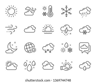 Weather and forecast line icons. Cloudy sky, winter snowflake, thermometer. Moon night, rain and sunset icons. Weather temperature, meteorology forecast and wind, thunder bolt. Vector