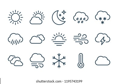 Weather and forecast line icons. Vector linear icon set.