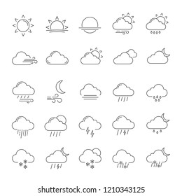 Weather forecast linear icons set. Snow, rain, sleet. Shower or drizzle, thunderstorm. Sunny, cloudy, foggy and windy weather. Contour symbols. Isolated vector outline illustrations. Editable stroke