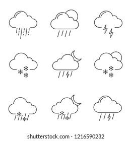 Weather forecast linear icons set. Thunderstorm, drizzle rain, sleet, heavy rain, scattered shower, thunder, light snow, night storm, scattered snow. Isolated vector illustrations. Editable stroke