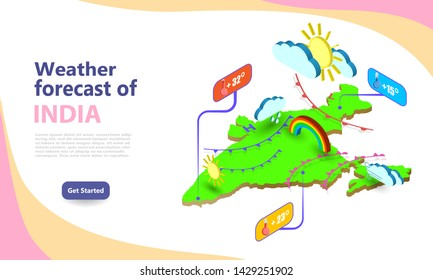 Weather forecast map of India. Isometric set icons location on country. Vector widgets layout of a meteorological application. Illustration of meteo pictograms for web, graphic, infographic design.
