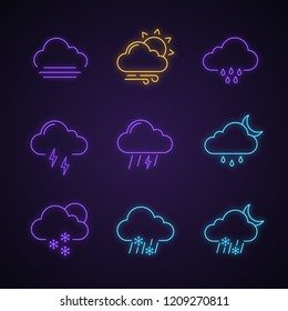 Weather forecast neon light icons set. Fog, wind, drizzle rain, thunderstorm, thunder, light night rain, sleet, snow, partly cloudy. Glowing signs. Vector isolated illustrations