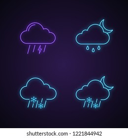 Weather forecast neon light icons set. Thunderstorm, drizzle rain at night, sleet weather, wet snow. Glowing signs. Vector isolated illustrations