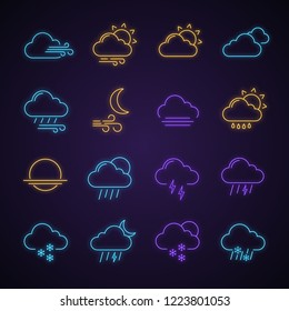 Weather forecast neon light icons set. Snow, rain, sleet. Shower or drizzle, thunderstorm. Sunny, cloudy, foggy and windy weather. Glowing signs. Vector isolated illustrations