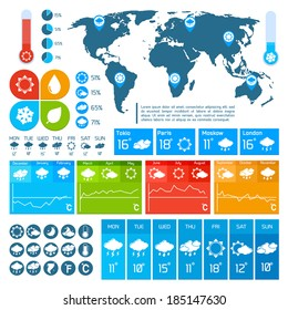 Weather forecast report infographics design elements set for business presentation vector illustration