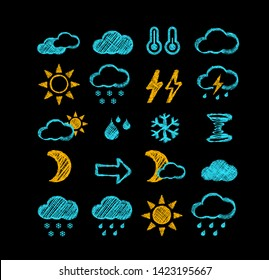 Weather forecast style icons hand-drawn on chalk board. Vector illustration