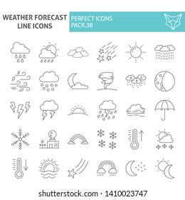 Weather forecast thin line icon set, climate symbols collection, vector sketches, logo illustrations, meteorology signs linear pictograms package isolated on white background, eps 10.