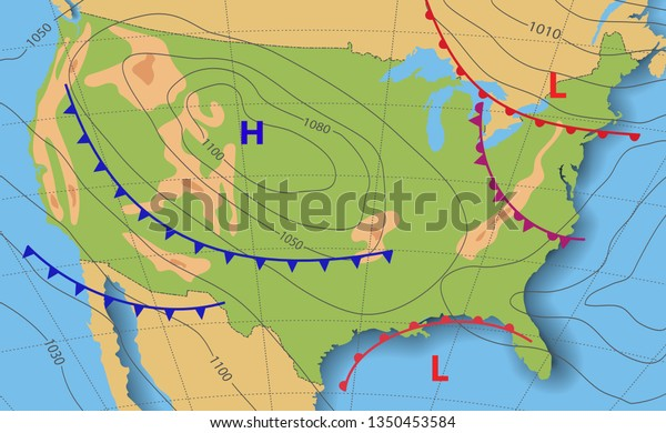 Weather forecast USA. Meteorological weather map of the United State of America. Realistic synoptic map with aditable generic map showing isobars and weather fronts. Topography and physical map.EPS 10