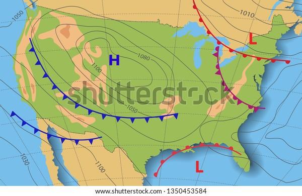Pronóstico Del Tiempo En Ee Uu Mapa Meteorológico De Los Estados Unidos De América Mapa Sinóptico