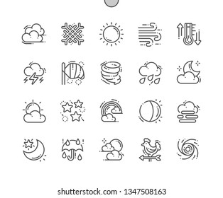 Weather forecast Well-crafted Pixel Perfect Vector Thin Line Icons 30 2x Grid for Web Graphics and Apps. Simple Minimal Pictogram