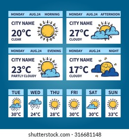 Weather forecast widget with sketch sun and clouds symbols vector illustration