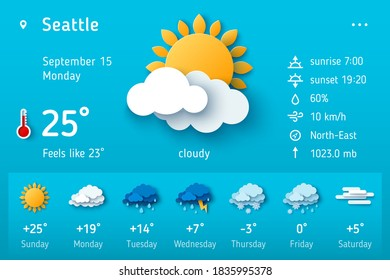 Weather forecast widget. Vector illustration. Daily weather forecast application template. Temperature, wind direction, atmosphere pressure, sunrise and sunset icons set. Paper cut climate signs