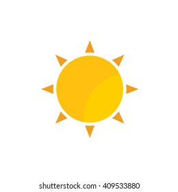 Weather forecast, yellow colored gold sun with rays vector flat web icon, website logo, illustrated colored image isolated background. Yellow sun with sunrays simple flat icon.