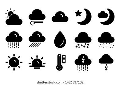 weather glyph icon symbol set