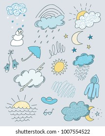 Weather hand drawn colorful set