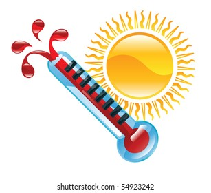 Weather icon clipart boiling hot thermometer illustration