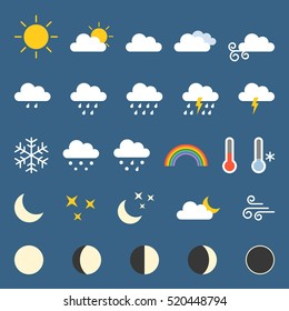 Weather icon collection, flat design