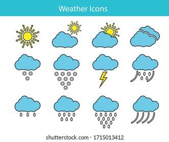 Weather icon , Rain Symbols, drawing style