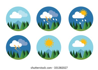 weather icon set flat vector forecast sky cloud sunny thunder