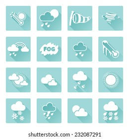 Weather icon set for weather forecasting apps or similar in modern flat shadow style