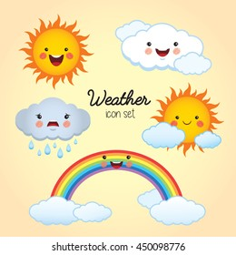 Weather icon set. Sunny, cloudy, rainy, partly cloudy and rainbow cartoon character. Vector illustration.