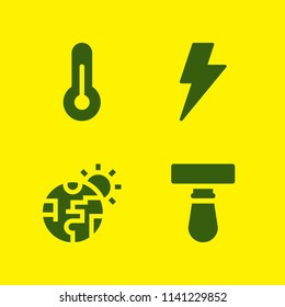 weather icon set. With thermometer, blade and lightning  vector icons for graphic design and web