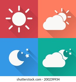 Weather icon set ,  Vector illustration flat design with long shadow