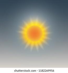 Weather icon, sunny, sun halo. Vector illustration.