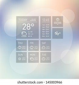 Weather Icon Template Layout with Colorful Shiny Background