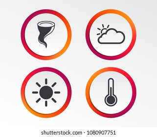 Weather icons. Cloud and sun signs. Storm symbol. Thermometer temperature sign. Infographic design buttons. Circle templates. Vector