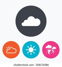 Weather icons. Cloud and sun signs. Storm or thunderstorm with lightning symbol. Gale hurricane. Circle flat buttons with icon.