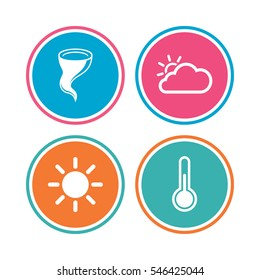 Weather icons. Cloud and sun signs. Storm symbol. Thermometer temperature sign. Colored circle buttons. Vector