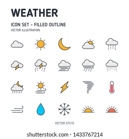 Weather icons. Filled outline weather icon set. Vector icon.