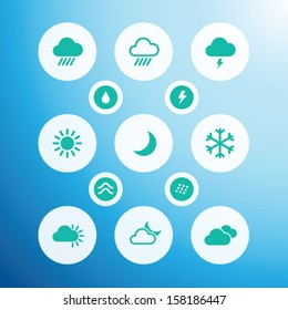 Weather icons in flat air style. Vector set for mobile apps, web and UI