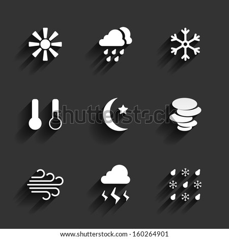 Weather icons in Flat Design Style. Sunny cloudy snow temperature