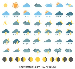 weather icons for weather forecast, moon phases