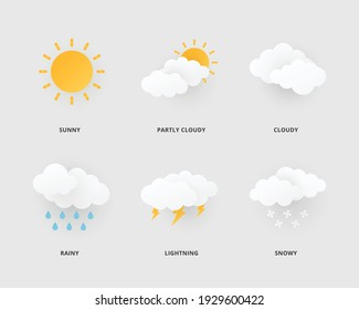 Weather icons. Weather icon in paper cut style. Vector illustration.
