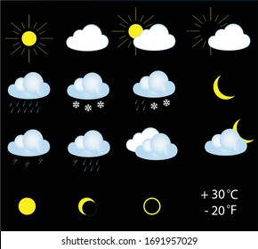 Weather icons isolated over black background, vector illustration. Colourful weather vector icons collection, set for weather forecast apps.