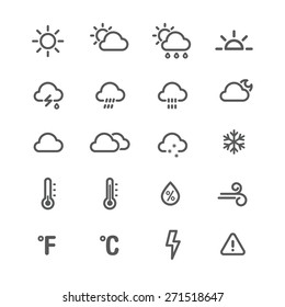 Weather icons. Line series on the white background.