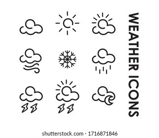 Weather icons. Modern and minimalist design Editable vector.