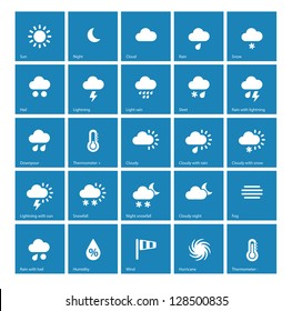 Weather icons on blue background. Vector illustration.